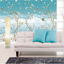 Custom 3D Print Fabric &Textile Wallcoverings For Walls Cloth Murals Matt Silk For Living Room Flowers Birds Chinese Scenery цена