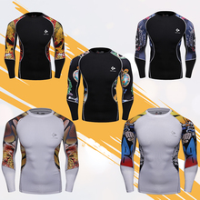 MMA Martial Arts Shirts Double Graphic Long Sleeve Compression Base Layer Bodybuilding Running Shirts Printing Tops For Men