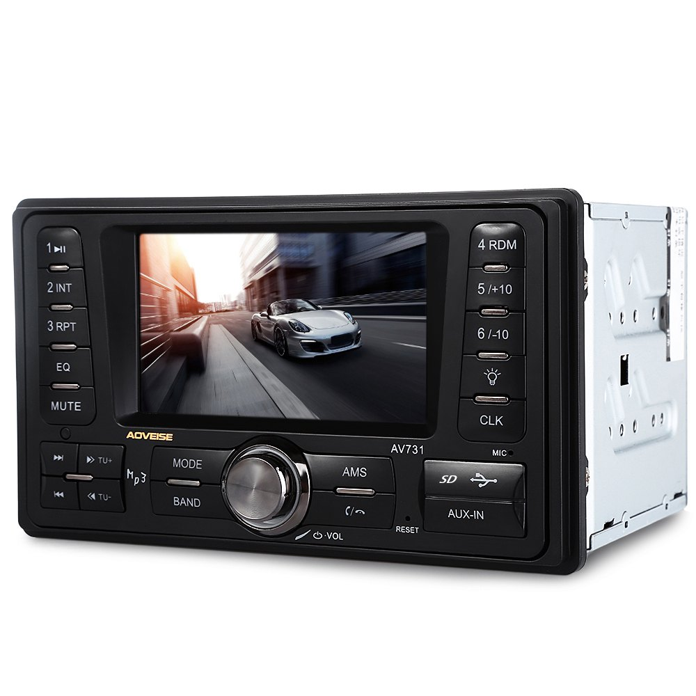 4.3 pouces vue arrière caméra voiture Audio stéréo lecteur 12 V Auto vidéo AUX FM USB SD MP3 TFT écran d'affichage avec Radio horloge numérique