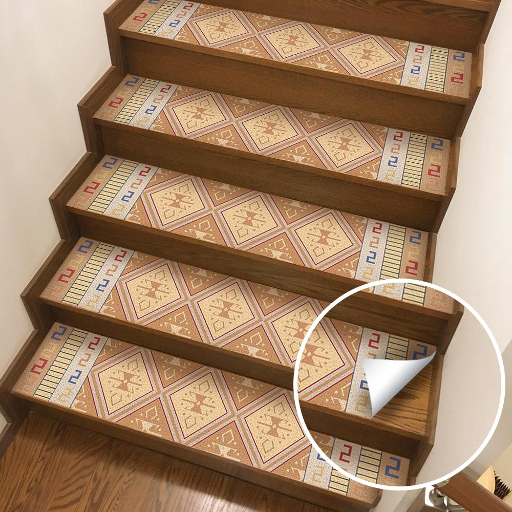 Image 2 - Hot Arabian Style Tile Stickers 4 Pc Set Free Glue Stair Stickers Tiles Stickers Bathroom & Kitchen Tile Decals Easy To A-in Wall Stickers from Home & Garden