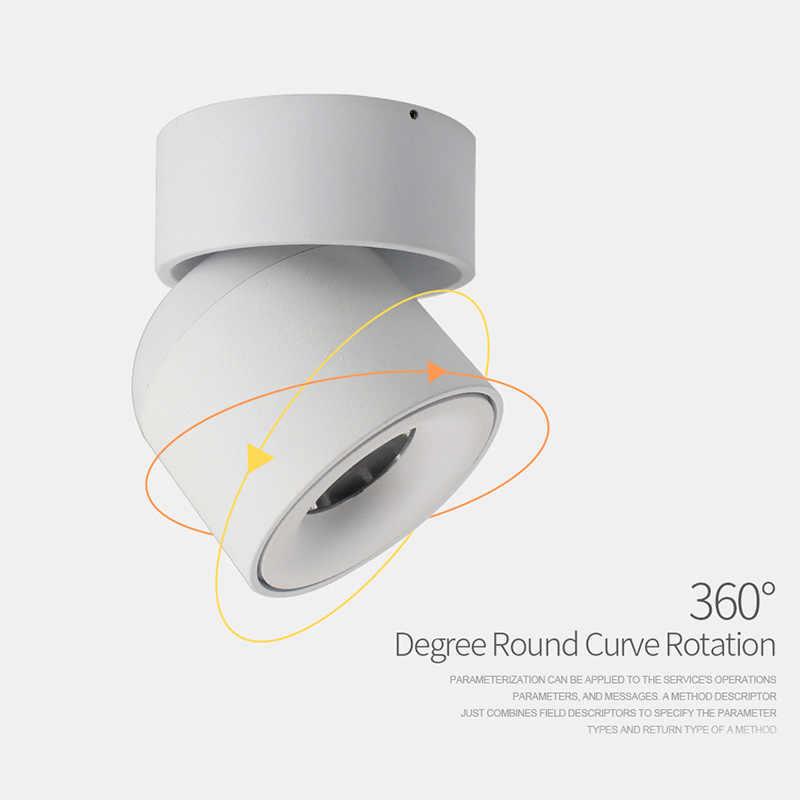 Aisilan LED โคมไฟเพดานพื้นผิวดาวน์ไลท์ปรับ 90 องศา Nordic Spot Light สำหรับในร่ม Foyer, ห้องนั่งเล่น AC 90-260V