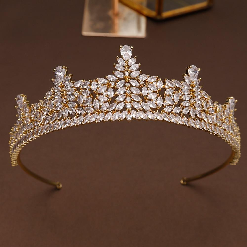 Jewelry Sets & More Big Wedding Crown Headband Tiara Cz Bridal Tiaras And Crowns Diademas Para El Pelo Mujer Couronne Mariage Coroa Novia Wigo1379 Hair Jewelry
