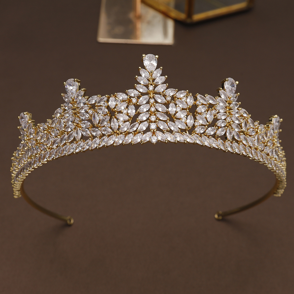 Luxury Zircon Princess Tiara Crown Golden Copper Headdress Hair Jewelry Girls Pageant Prom Headband Cubic Zirconia Hairband Gift baby hairband crystal tiara hairband kid girl bridal princess prom crown party accessiories princess prom crown headband