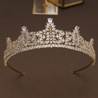 Luxury Zircon Princess Tiara Crown Golden Copper Headdress Hair Jewelry Girls Pageant Prom Headband Cubic Zirconia Hairband Gift