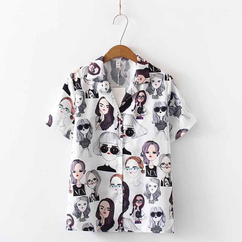 Harajuku Fashion Girls Print Summer Women Blouse Punk Gothic Casual Short Sleeve Turn down Collor Shirt Tops Female blusas in Blouses amp Shirts from Women 39 s Clothing