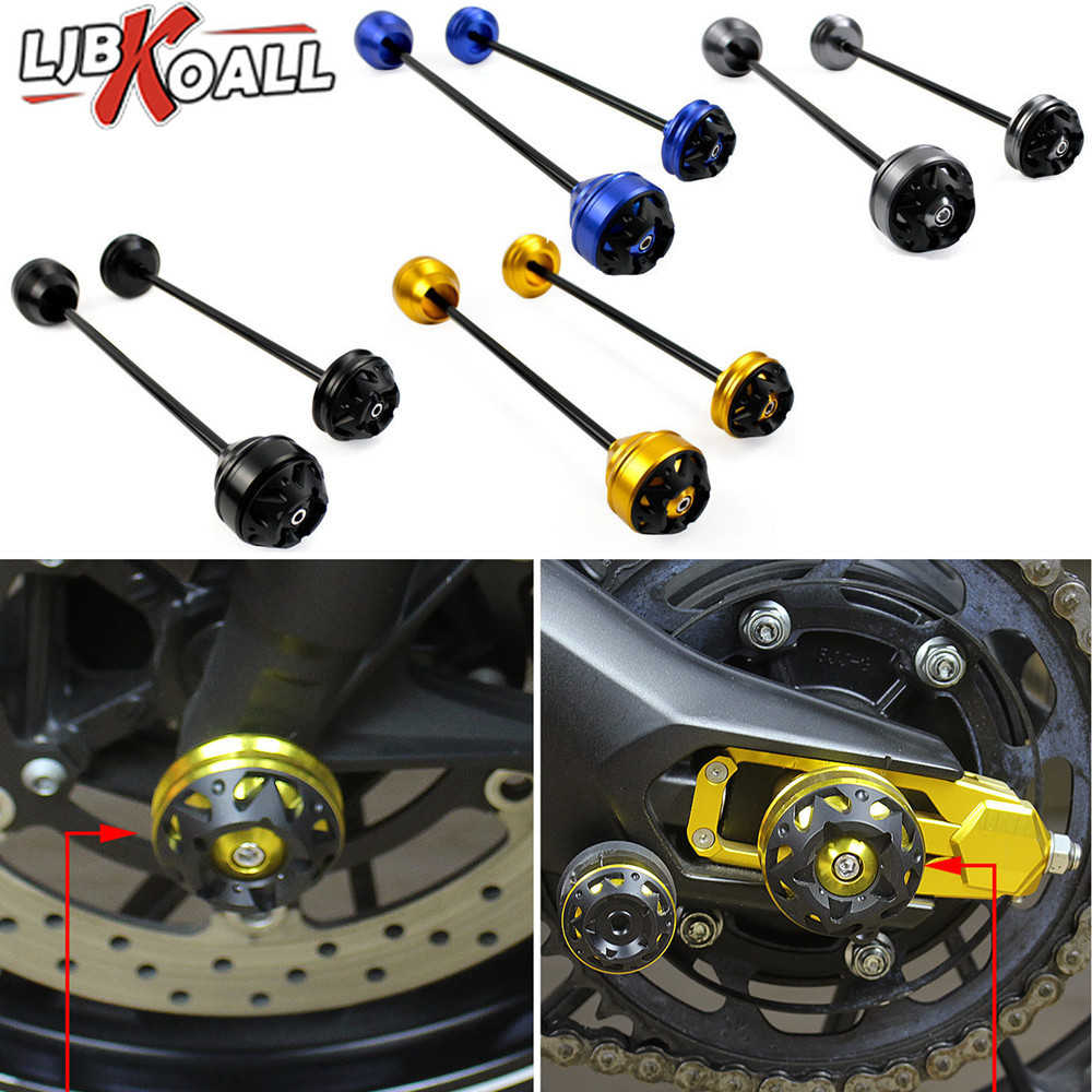 Front Rear CNC Wheel Fork Axle Sliders Cap Crash Protector for Yamaha MT 09 FZ09 MT09