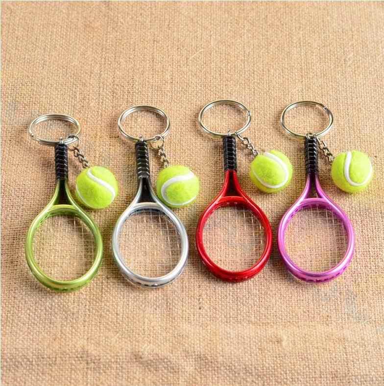 Sac de Tennis pendentif en plastique mini tennis raquette porte-clés petits ornements sport porte-clés fans souvenirs porte-clés cadeaux