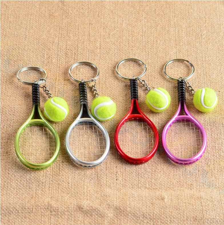 Tennis bag Pendant plastic mini tennis racquet key ring small Ornaments sport keychain fans souvenirs key chain gifts
