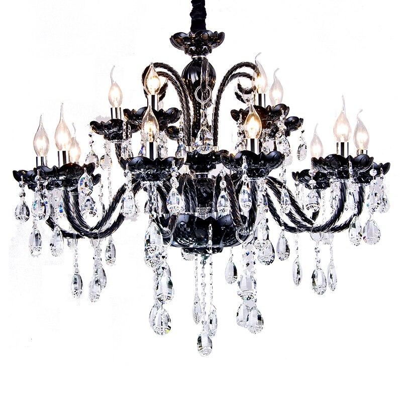 Bougie noire lustre pour salon chambre cuisine salle à manger lustres luminaria led plafond décoration cristal lustre