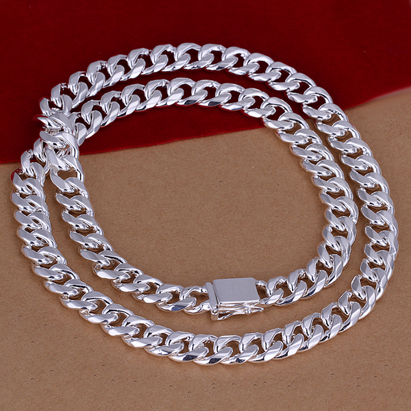 3714b2c2af351 US $9.58 20% OFF|N011 2017 925 sterling silver necklace 10mm/24inch square  buckle men necklaces statement fashion jewelry vitage pendant chain-in ...