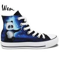 Wen Original Design Custom Hand Canvas Shoes Cute Little Panda Play Water Polo High Top Women