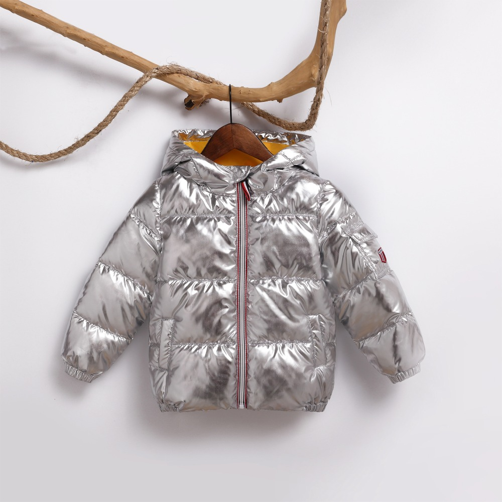 a07d8f8ce children winter jackets short parka kid coat gold silver metal color ...