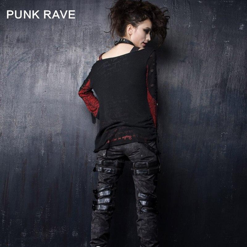 Hauts Impression Col Femme shirt Unique Rock Cool Chemise Gothique Punk Sexy Pour Red Manches Rond Longues T À Filles Rave Black Motif Crâne qU6xFw4H