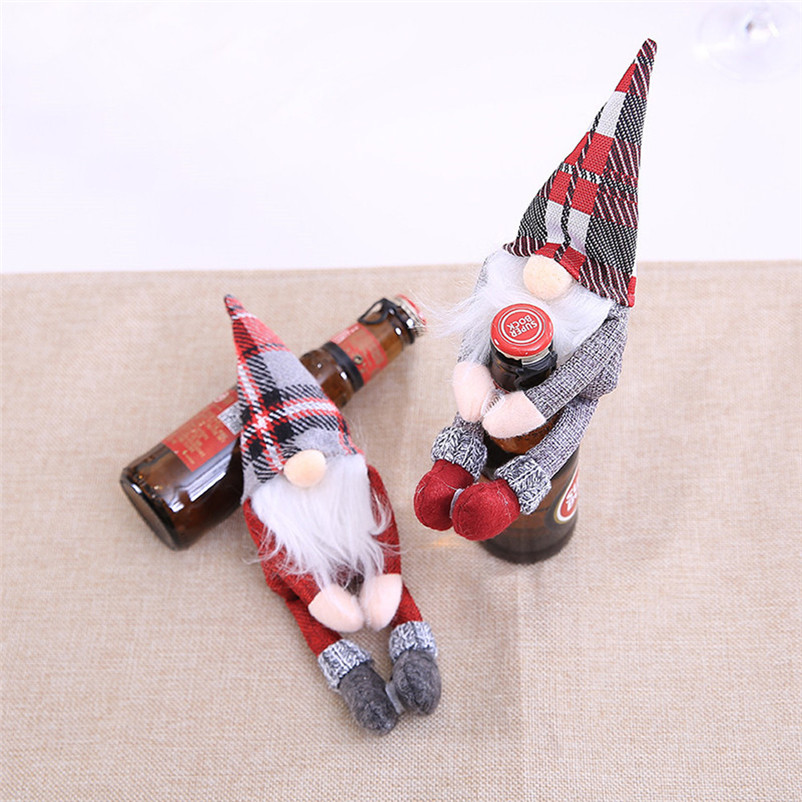 2018 Merry Christmas Wine Bottle Cover Clothes Xmas Santa Snowman Wine Bottle Decor Party christmas decorations for home O17 (5)