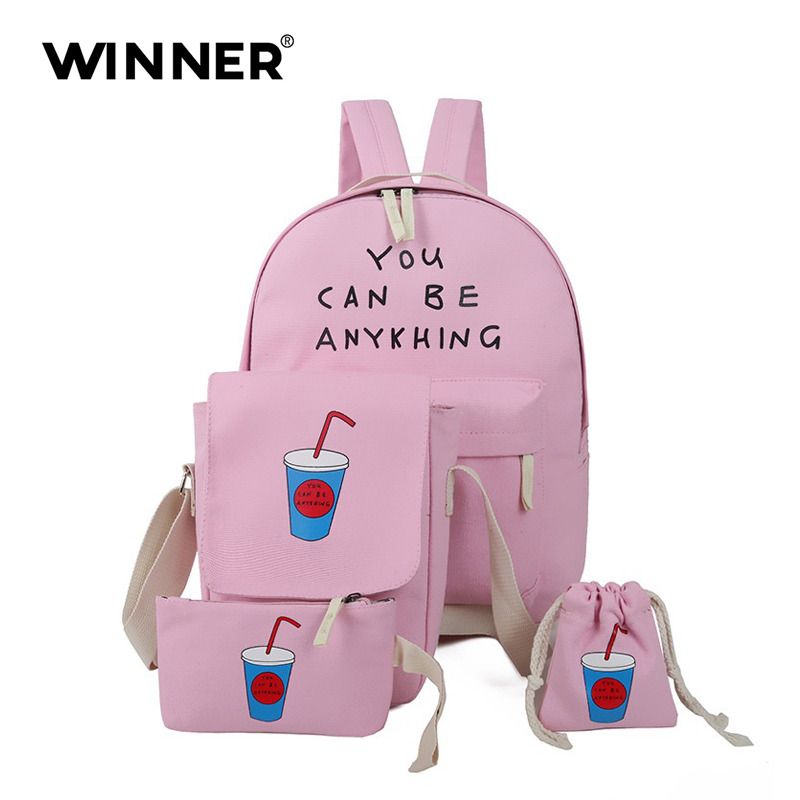 Fashion 4 Pcs set Women Backpack Coke Cup School Bags For Teenage Girls Canvas Backpack Female