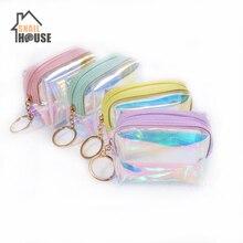 Snailhouse Laser Coin Purse Bag Square Jelly Transparent Clear Pouch Purses Mini Cute Money Change Key Storage Girl Bags