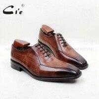 Cie квадратный носок на шнуровке 2 Lines100 % натуральной телячьей кожи коричневый патина оксфорды кожаные дышащие Подошва Платье мужские туфли