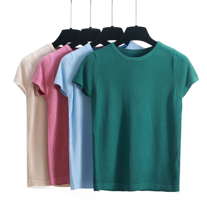 2018 Summer T Shirt Women Knitted Short Sleeves Tee Shirt High Elasticity Breathable Female T shirt solid slim crop Top