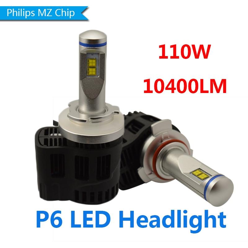 Super Bright 2X P6 9012 HIR2 Car LED Headlight Fog Lamp Bulbs Conversion Kit  White 6000K super bright h7 p7 led car headlight conversion kit fog lamp bulb drl 60w 9000lm 6000k 10v 30v dc wholesale d20