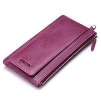 Sendefn Soft Ultrathin Genuine Leather Women Wallet Lady Purse Female Long Wallets Card Holder Phone Coin