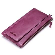 Sendefn Soft Ultrathin Genuine Leather Women Wallet Lady Purse Female Long Wallets Card Holder Phone Coin Pocket