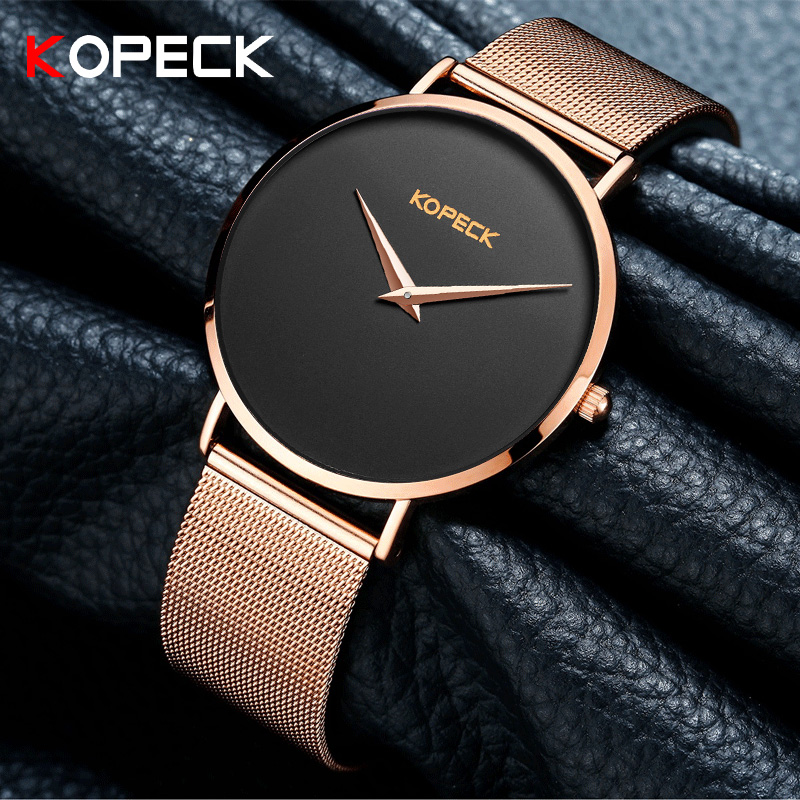 KOPECK 6mm Super Thin Dial Women Quartz Watch Top Brand Luxury Milanese Stainless Steel Casual Famale Wrist Watches as Girl Gift learning carpets us map carpet lc 201