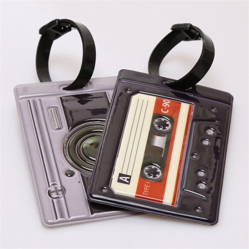 Happy Flight PVC Leather Vintage Style Tape Travel Name Tag Luggage Tags 11*7.5cm