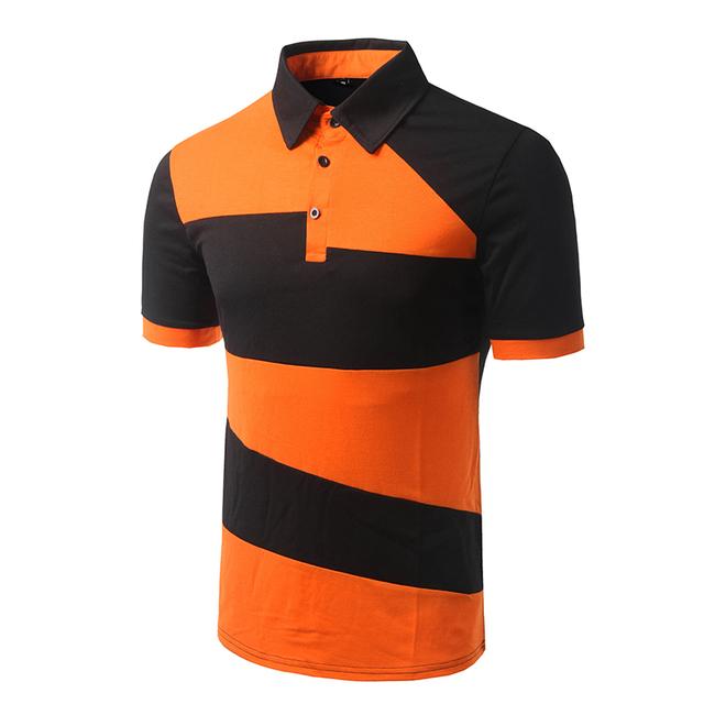 Nueva llegada de los hombres patchwork diseño de moda camisa de polo de manga corta masculina orange casual slim fit camisa de polo de alta calidad