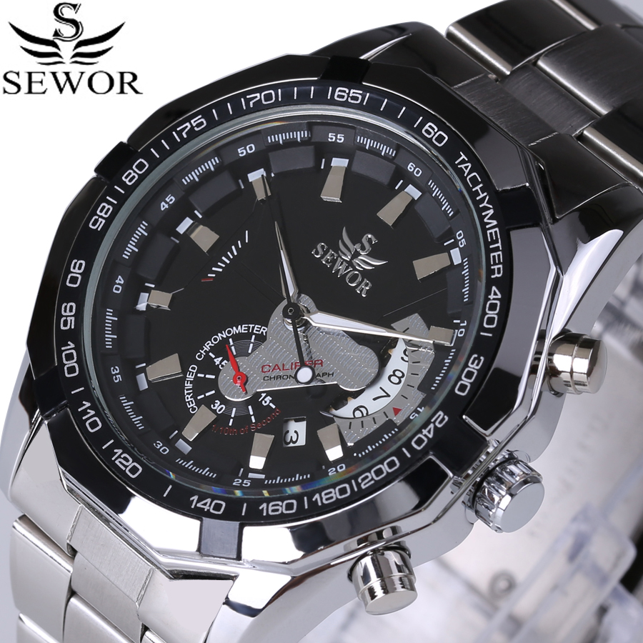 цена на 2017 SEWOR Top Brand Automatic Mechanical Watch Double second hand Date Fashion Men Dress Watches Full Steel Sports Male Clock