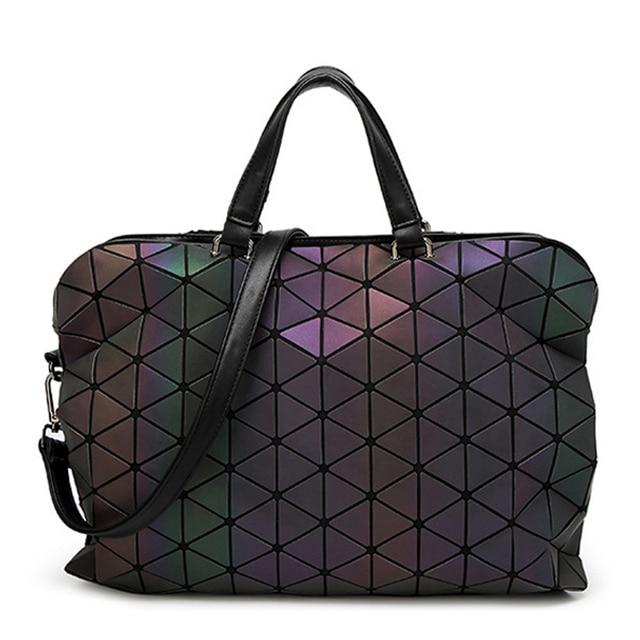 Fashion diamond geometry laser luminous Bao Bao bag folding handbag tote women With Logo BAOBAO bags