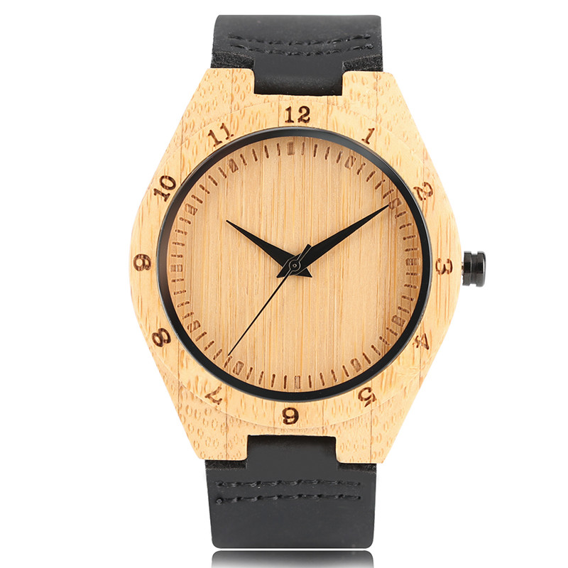 Men Bamboo Watch Top Brand Luxury Unique Handmade with Black Leather Strap Quartz Movement Wrist Watches relogio masculino