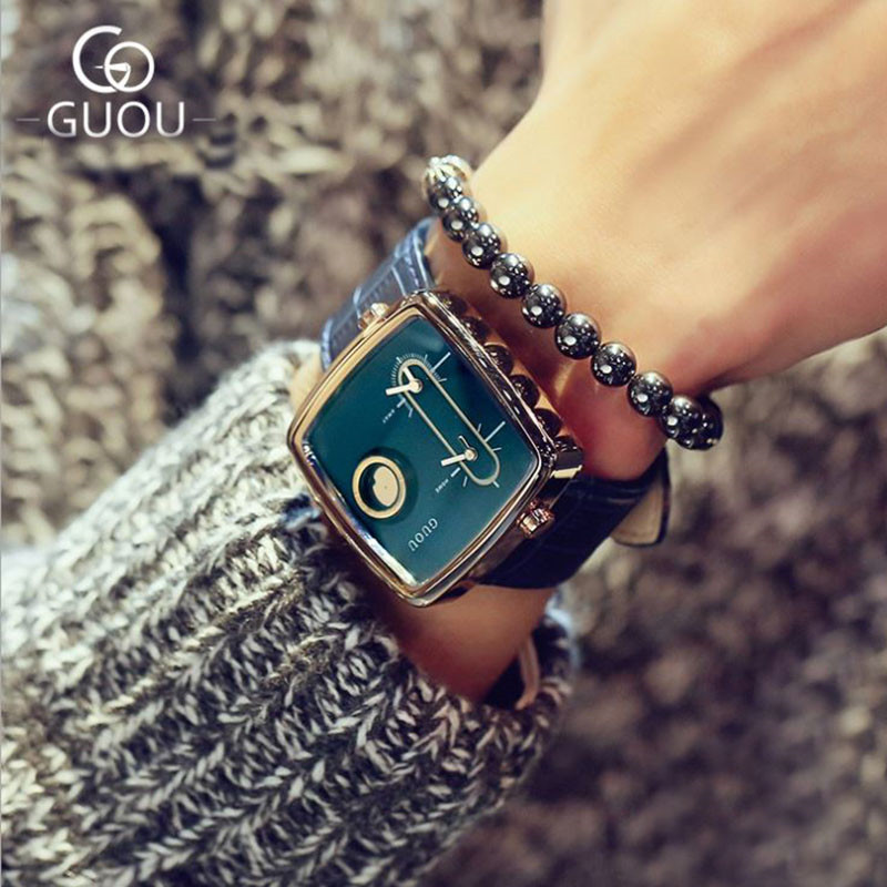 GUOU Fashion Women's Watches For Lovers's Watch Ladies Watch Rose Gold Bracelet Clock Waterproof Relogio Feminino Saat