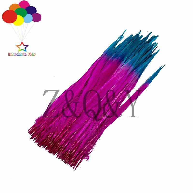Z & Q & Y nouveau 50 40-45 CM (16-18 pouces) bicolore plumes de poulet de montagne Baolan plus rouge bricolage fête ventilateur décoration
