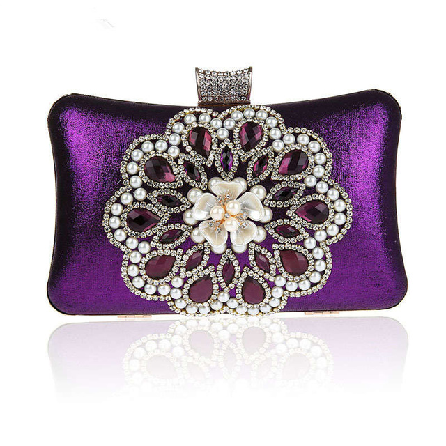 Luxury diamond flower evening bag beaded clutch bag  beautiful bride hand bag party wedding clutch purses chain bag 03866