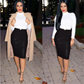 Fashion 2016 Women Soft PU Leather Skirt High Waist Slim Hip Pencil Skirts Vintage Skirt Sexy Clubwear Hot  C731