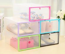 6PCS/SET High Quality Foldable Clear Plastic Shoe Storage Box Combination Shoes Box Drawer Organizer Shoe Case Holder Stackable цена