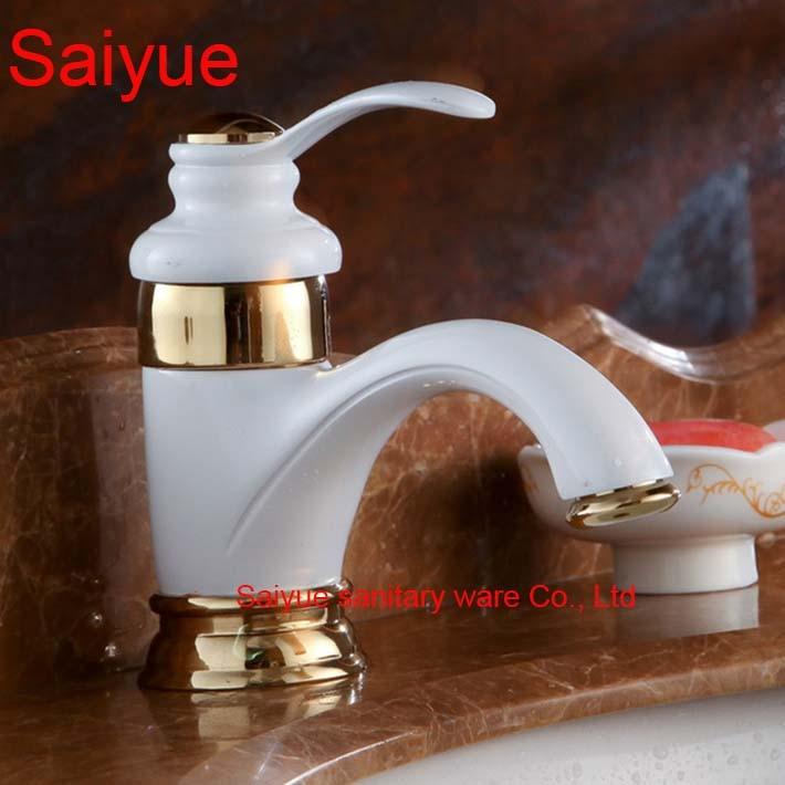Ganze Und Retro Eleganten Luxus Weiß Gold Malerei Farbe Messing Deck  Montieren Waschbecken Waschbecken Wasserhahn Badezimmer Mischbatterien In  Ganze Und ...