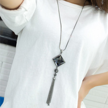 Hot Silver Long Square Tassel Necklace