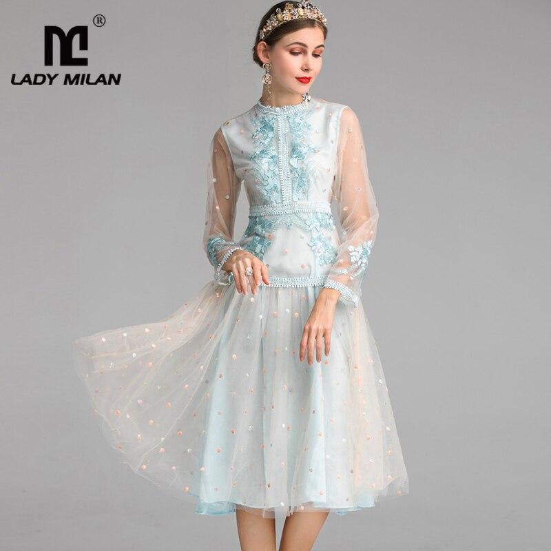 2019 Piste De Mode Parti Femmes Longues Manches Robes O Appliques Broderie Patchwork Cou Designer rwfrR
