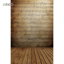 Yeele Vinyl Custom Photographic Backdrops Old Music Score Wall Wooden Planks Floor Photography Backgrounds  For Photo Studio