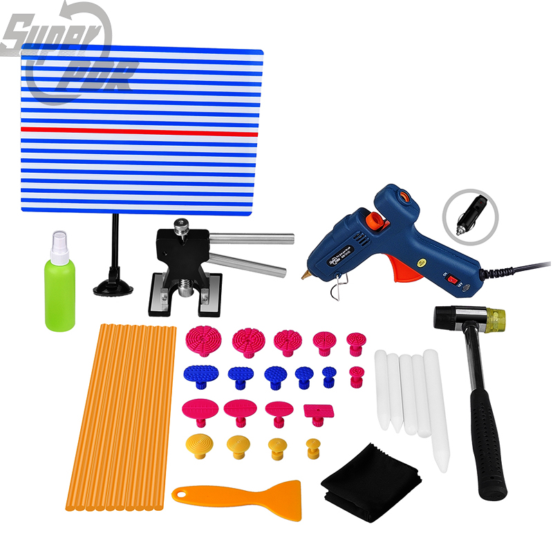 PDR Tools Set Dent Removal Paintless Dent Repair Tool Reflector Board Hot Melt Glue Stick Puller Tabs Suction Cup Hand Tool Set  pdr tools for car kit dent lifter glue tabs suction cup hot melt glue sticks paintless dent repair tools hand tools set