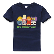 2018 summer funny cartoon tops tee try everything letter printing kids t shirt baby clothes boys t-shirts homme street tshirt