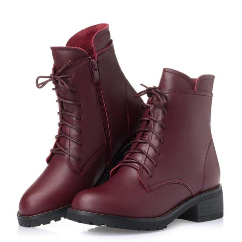 En Boots Bottes Chaussures Neige 2018 Cuir Boots Hiver Single Plus Chaud Nouveau Automne black red Élégante Et Martin Wool Mode Unique Épais Vache red Inside Black Femmes red Plush Plush black Wool Laine x78wfqTqvn