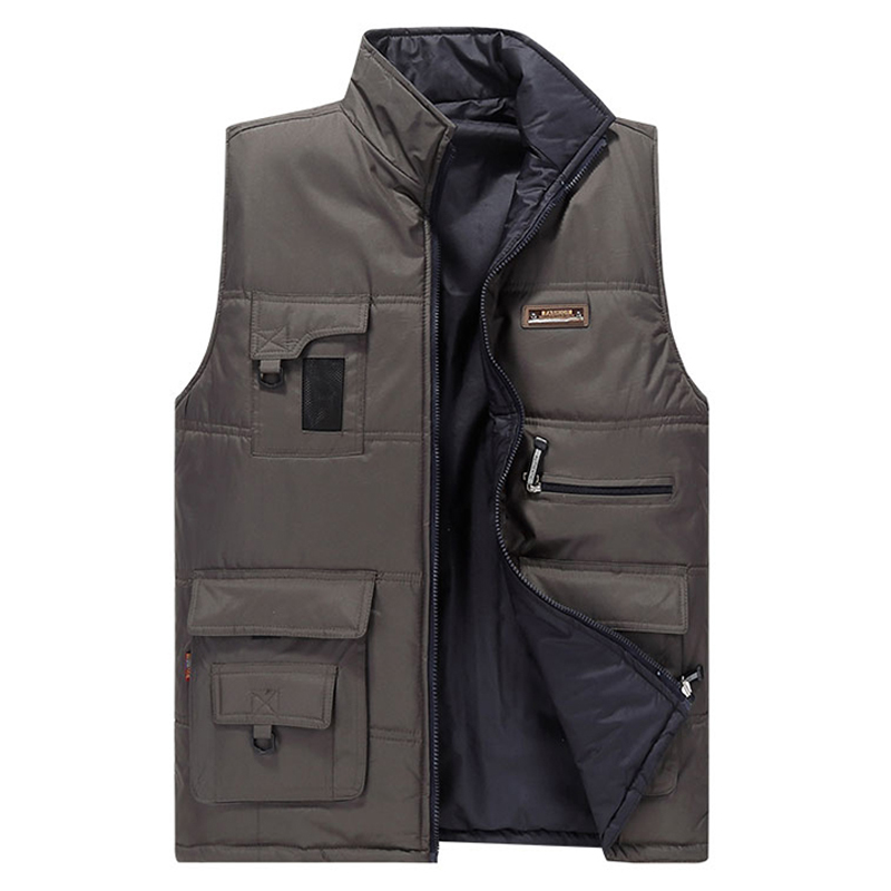 цены New Man Good Quality Autumn And Winter Vest Men Outdoors Both sides wear Waistcoat Men's Down cotton Vest Sleeveless Jacket