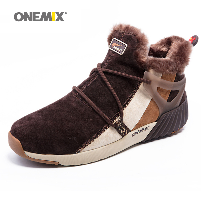 ONEMIX New Winter Men's Boots Warm Wool Sneakers Outdoor Unisex Athletic Sport Shoes Comfortable Running Shoes Sales kelme 2016 new children sport running shoes football boots synthetic leather broken nail kids skid wearable shoes breathable 49