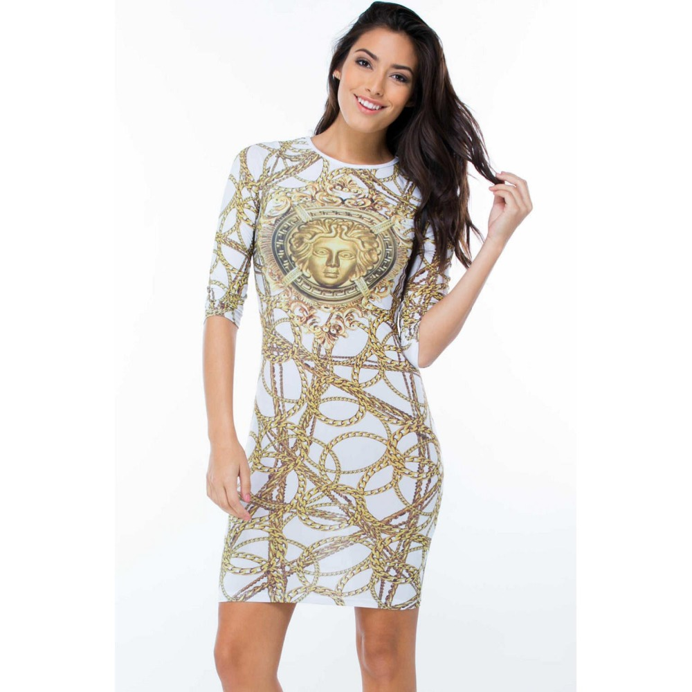 New Fashion 2015 Summer Women Flower Print Dress Trendy Gold Chain Casual Style Half Above Knee