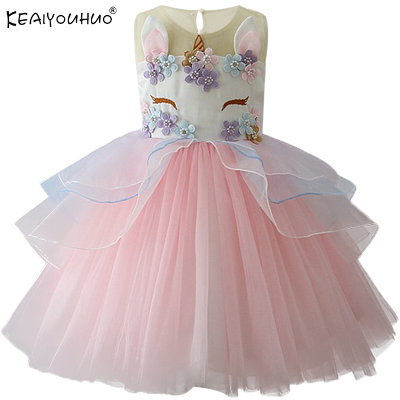 2019 Christmas Girls Dress Kids Dresses For Girls Unicorn Party Dress Children Clothing Cosplay Dresses 2 3 4 5 6 7 8 9 10 Years стоимость