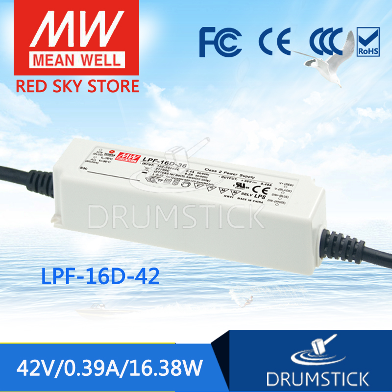 MEAN WELL LPF-16D-42 42V 0.39A meanwell LPF-16D 16.38W Single Output LED Switching Power Supply [mean well] original lpf 60d 30 30v 2a meanwell lpf 60d 30v 60w single output led switching power supply