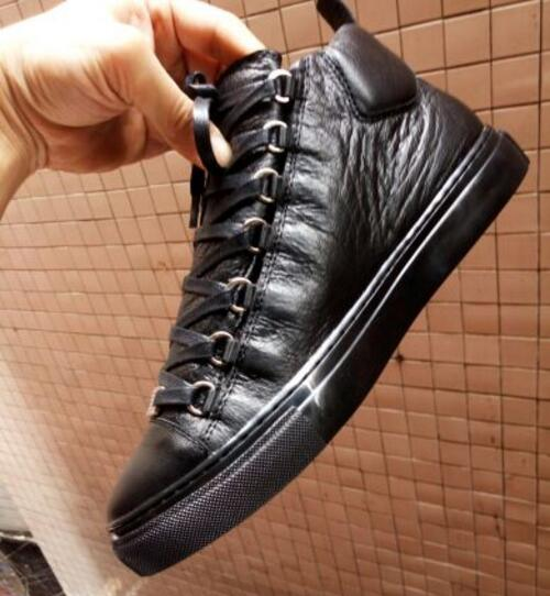 2017 Hot Sale High Quality Arena Low Top Men Shoes Luxury Black Red Wrinkled Leather Lace