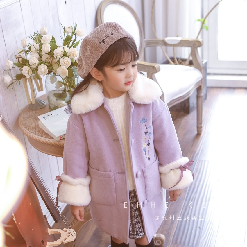 Children's woolen coat 2018 winter long section embroidered thick fur collar coat children's lapel single-breasted coat tide подвесная люстра odeon light alvada 2910 8